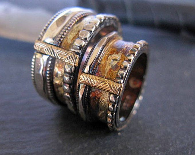 Viking Wedding Ring Set 11mm and 9mm Silver and Gold