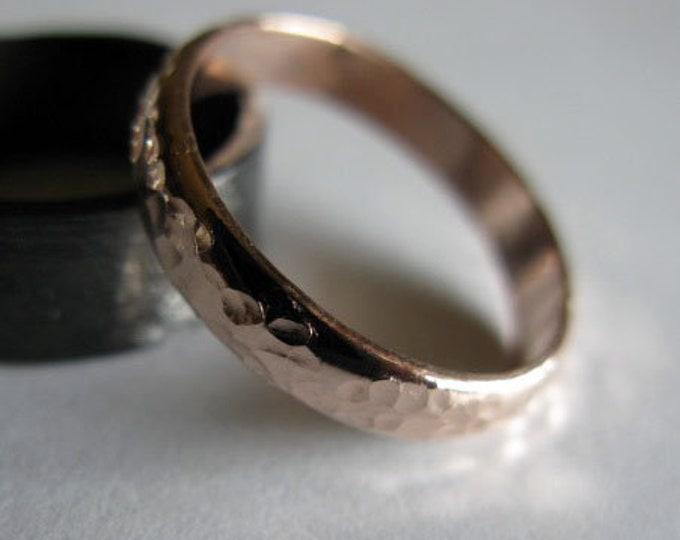 14K Rose Gold Wedding Band 4mm Hammered Finish