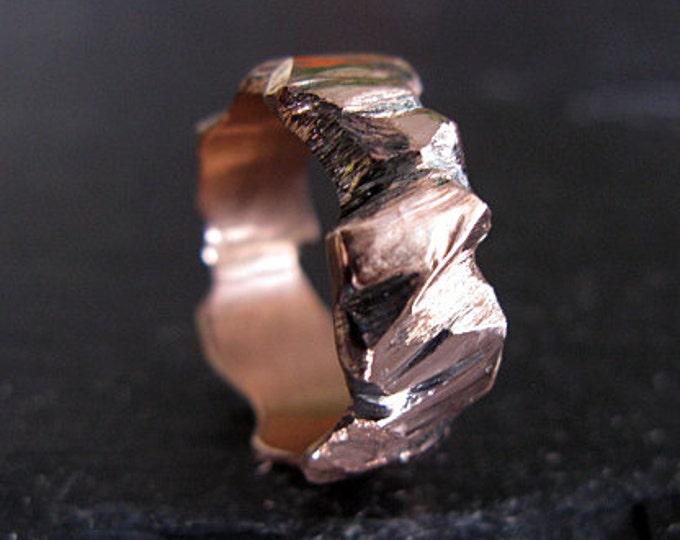 Carved Wedding Band 8mm 14K Rose Gold