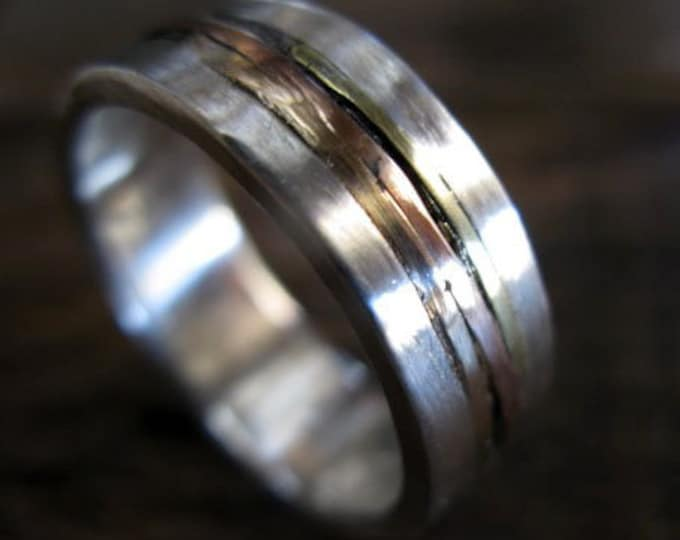 8mm Sterling Silver Ring with 14K Rose Gold 14K Yellow Gold Inlay