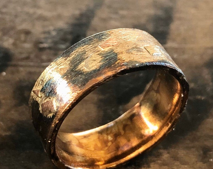 14K 18K 22K Yellow Gold Sterling Silver Mixed Metal Ring Custom Wedding Band 8mm Comfort Fit Brushed Finish Mens Ring Oxidized Silver