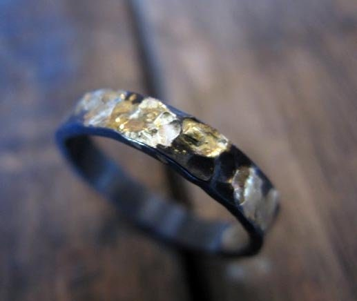 Hammered Gold Black Ring 4mm Oxidized Sterling Silver 18K Yellow Gold Rustic Mens Wedding Band Gold Viking Wedding Ring Medieval Wedding Rin
