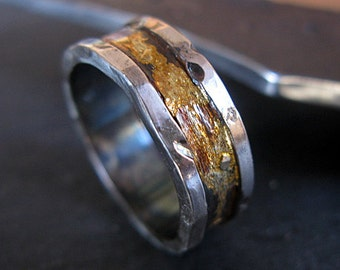 14K 18K Yellow Gold Sterling Silver Mixed Metal Ring Custom Wedding Band 8mm Distressed Hammered Finish Mens Ring Oxidized Silver