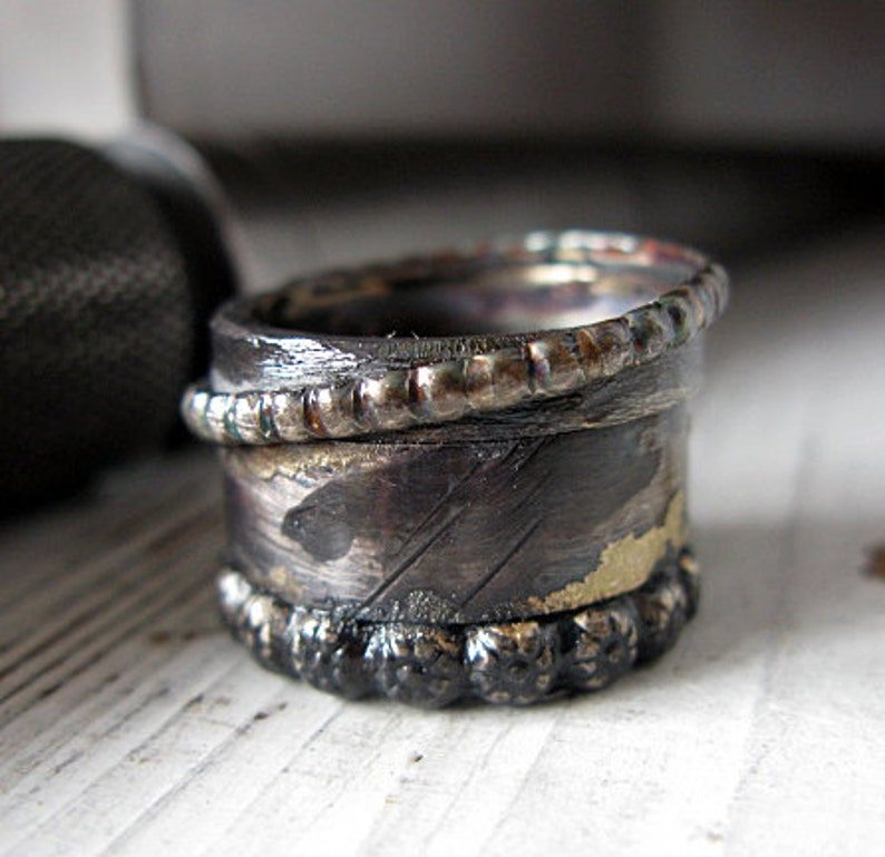 Medieval Ring 15mm Oxidized Sterling Silver Viking Wedding Ring Unique Mens Wedding Band Goth Wedding Ring Warrior Ring Mens Engagement Ring