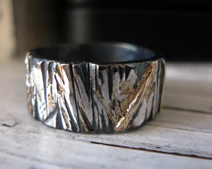 Mixed Metal Bark Texture Ring