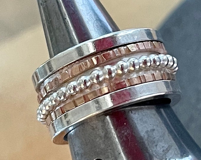 Spinner Ring Sterling Silver and 14K Rose Gold