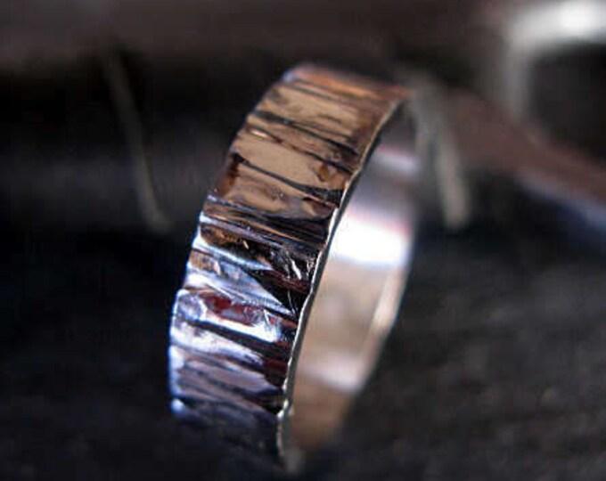 Bark Textured Ring 6mm 14K White Gold