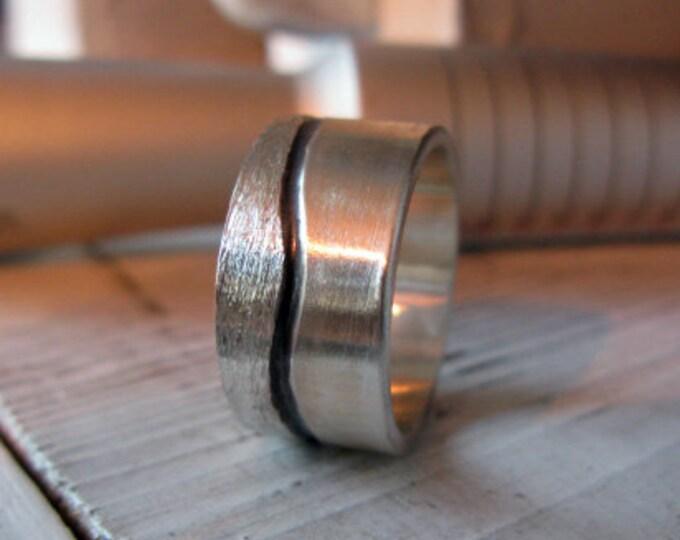 Landscape Ring 12mm Sterling Silver Mens Wedding Band