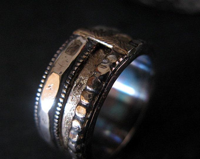 Viking Wedding Ring 11mm Fine Silver Sterling Silver 14K Yellow Gold