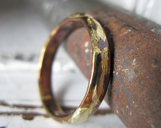 Gold and Silver Wedding Band 4mm Oxidized Sterling Silver 10K 14K 18K Yellow Gold Wedding Ring