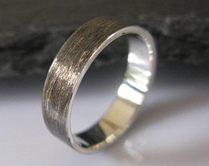 Brushed Silver Mens Wedding Ring 5mm
