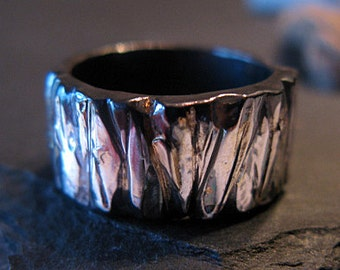 14K White Gold Fine Silver Mixed Metal Ring Custom Wedding Band 10mm Bark Finish Mens Ring Oxidized Silver