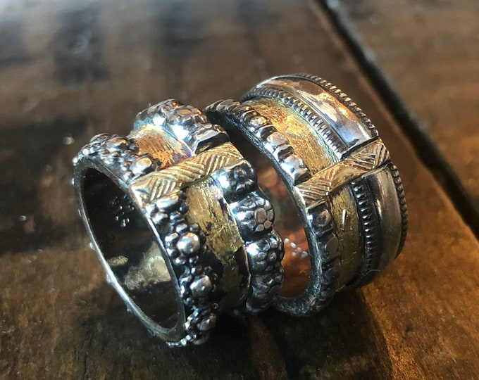 Wedding Band Set Viking Wedding Ring 11mm Sterling Silver 14K Yellow Gold Rustic Mens Wedding Band Unique Mens Wedding Band Medieval Ring