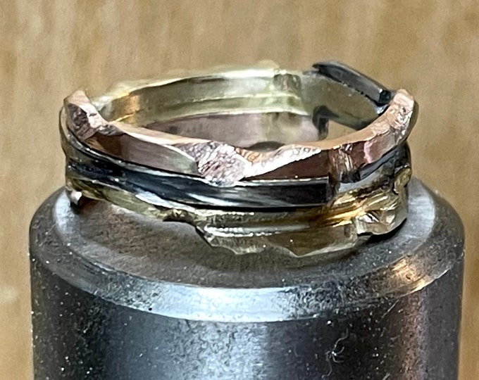 Mixed Metal Wedding Band 18K Yellow Gold 14K Rose and White Gold Unique Wedding Ring Custom Wedding Band 4-6mm Distressed Textured Mens Ring
