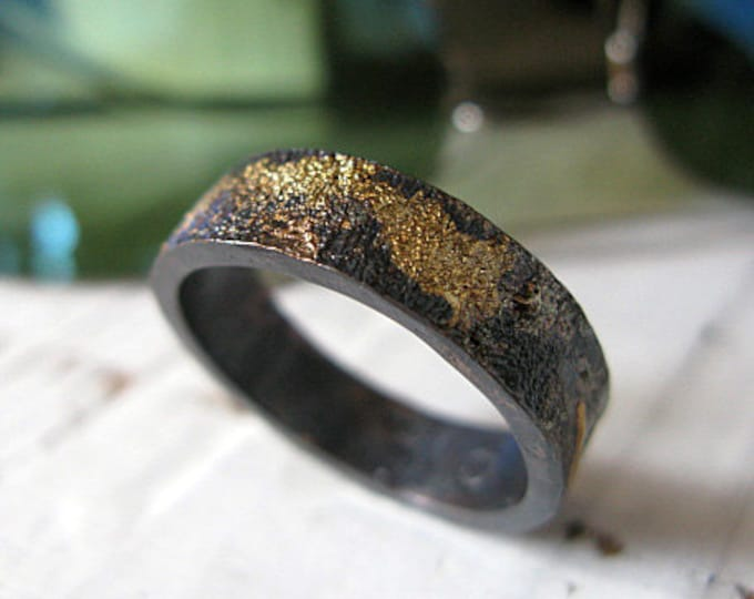 14K Rose Gold 14K 18K Yellow Gold Sterling Silver Mixed Metal Ring Custom Wedding Band 6mm Reticulated Mens Ring Oxidized Silver