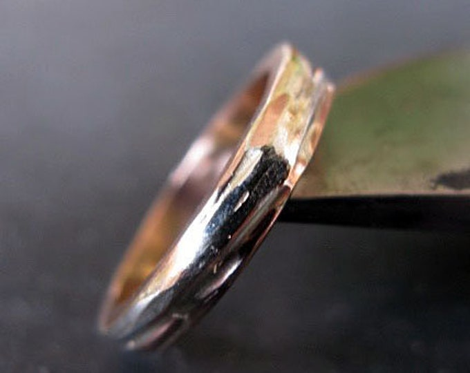 Rose Gold Ribbon Ring 4mm Rose Gold Sterling Silver Fine Silver