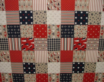 Nautical Patchwork Quilting Linen Look Fabric Curtain Upholstery Quilting Craft