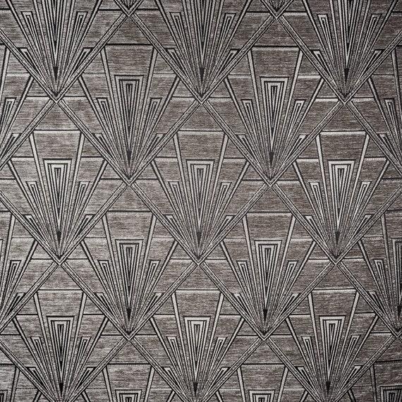 Gatsby Art Deco Chenille Velvet Fibre Naturelle Curtain//Upholstery Fabric Grey