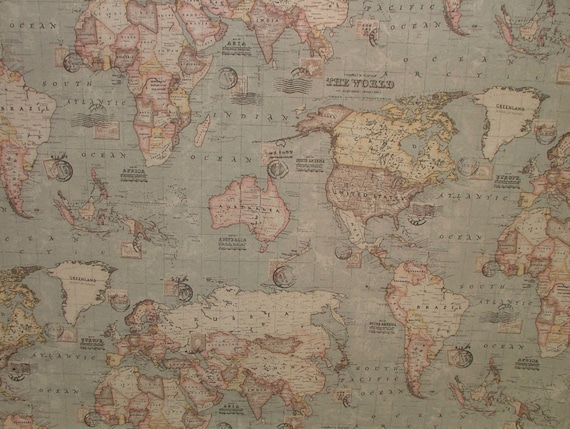 "Vintage World Map Cotton Linen Fabric Curtain /& Upholstery 4 Colours 54/"" Wide"