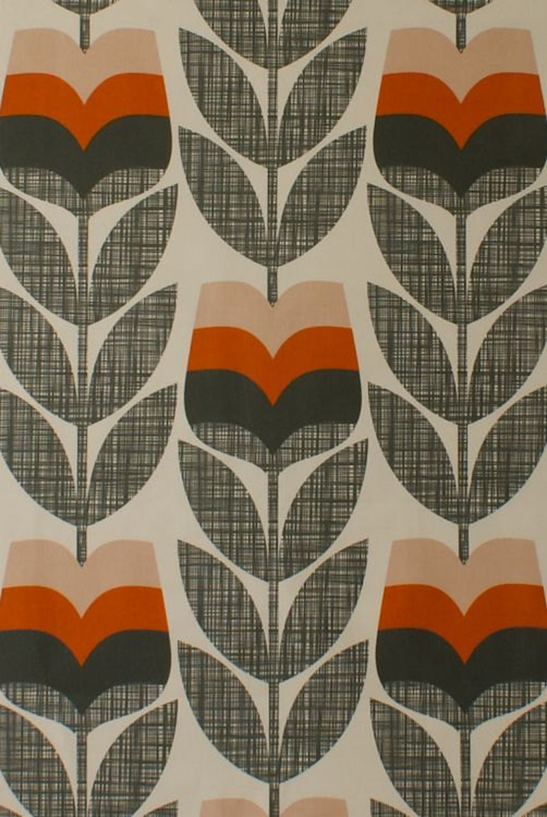 Designer Orla Kiely Owl Chalky Green Cotton Curtain Upholstery Craft Fabric