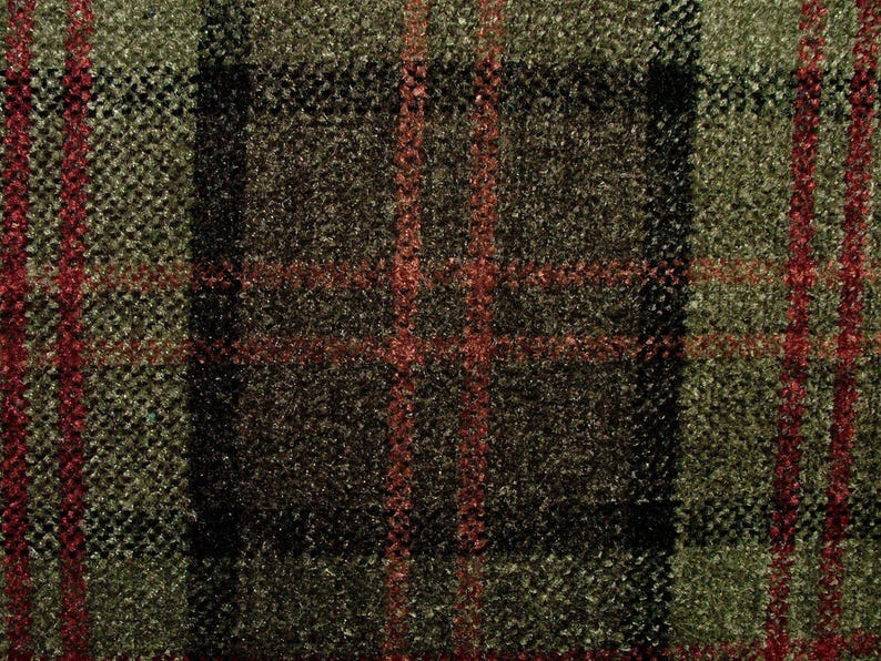 Red// Multicolour Tartan Check  Pure Wool Fabric for Upholstery//Curtains.UK WOVEN