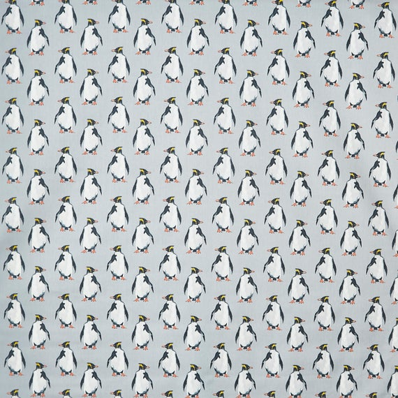 Penguins Digital Printed Linen Cotton Fabric Curtain Upholstery Cushion
