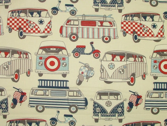 Happy Campers VW Camper Van Scooters Candy Cotton Fabric