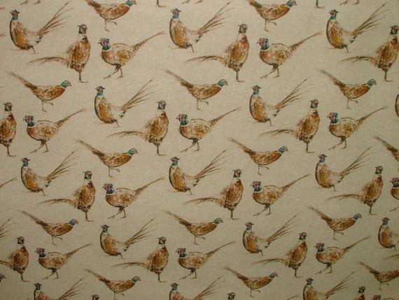 image 0 & Pheasants Vintage Linen Look Animal Print Designs Curtain | Etsy