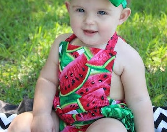 8333a790ed92 Baby Girls WatermelonRomper- Toddler Girls Watermelon Romper- Watermelon Ruffle  Bottom Romper- Bubble Suit - 3m