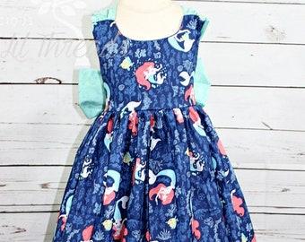Girls Princess Ariel Dress- Toddler girls- Little Mermaid Dress- Baby Girls- Ariel Dress- 3-6m, 6-12m, 12-18m, 18-24m, 2t, 3t,4 t, 5t, 6, 8