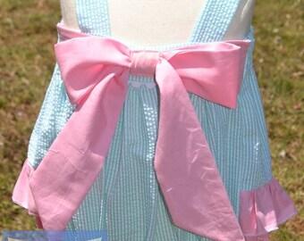 cca0af8c09c1 Baby Girls Ruffle Bottom Romper- Sunsuit- playsuit- bubble romper- bubble  suit- Easter- Big Bow- size NB