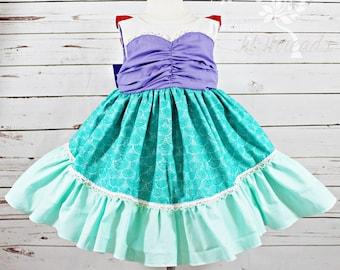 Girls Ariel Dress- Toddler girls- Princess Ariel Dress- Baby Girls- Little Mermaid Dress- 3m-6m, 6-12m,12-18m, 18-24m, 2t, 3t,4t, 5t, 6, 8