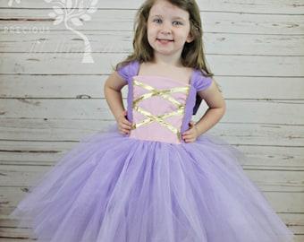 Tangled Inspired Dress- Rapunzel Inspired Dress- Princess Dress- Tutu Dress- Costume-Pretend Play-3-6m,6-12m, 12-18m, 2t, 3t, 4t, 5, 6, 7, 8