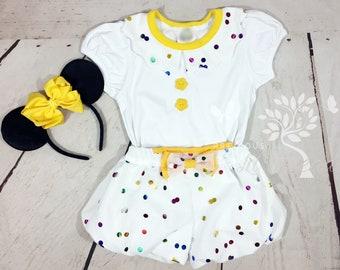 1354b52662d Girls Minnie Celebration Dress- Minnie Celebration outfit- Confetti- Bubble  Shorts- Toddler Minnie - 6m