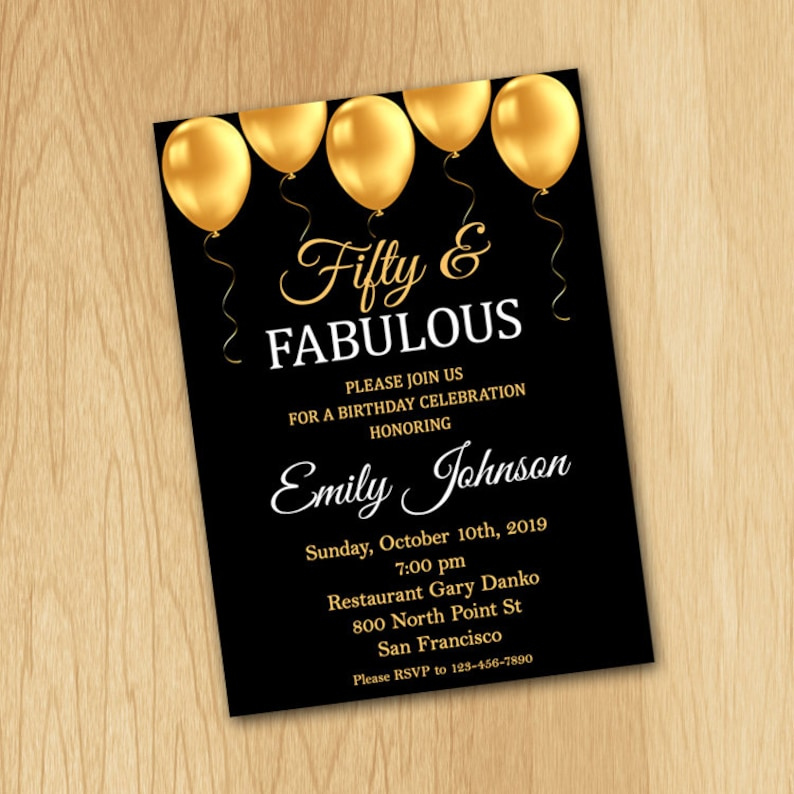 50th Birthday Invitation For Women Fifty And Fabulous ANY Age Black Gold