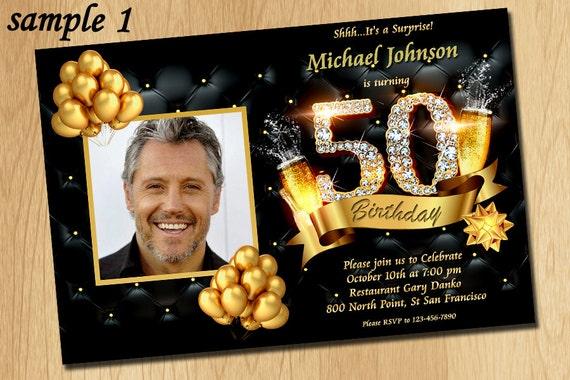 50th Birthday Invitation Black Gold And Diamonds