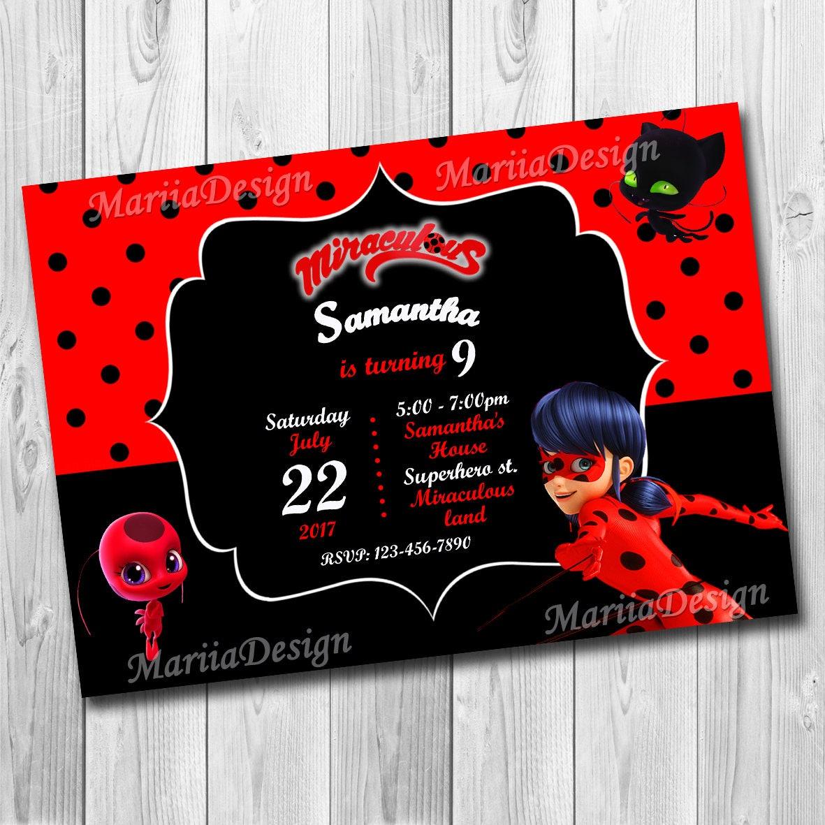 Miraculous ladybug Miraculous Ladybug Invitation Miraculous   Etsy