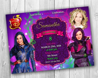 Descendants Invitations, Descendants 2 invitations, Descendants, Descendants Double Invitation, Descendants Sibling Invitation - ONLY FILE