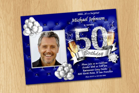 50th birthday invitation royal blue and silver invitation etsy