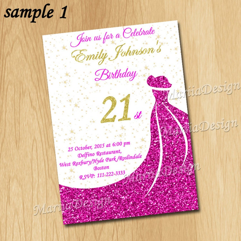 21st Birthday Invitations Sweet 16 Invitation Sixteen Woman 30th Invite Pink ONLY FILE
