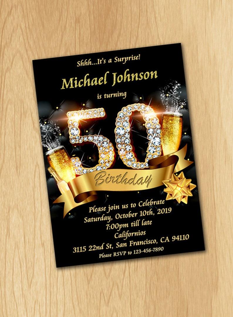 50th Birthday Invitation For Men Women Black Gold And Diamonds Invite