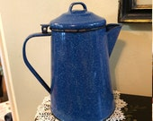 Vintage Stove Top Perculator Coffee Pot Blue Speckle Enamel Ware Free Shipping Camping Farmhouse Country Kitchen Decor
