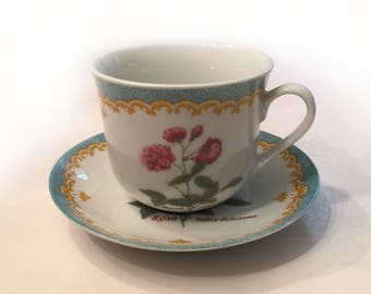 Botanical Tea Cup and Saucer (12 oz.) Coffee Cup White Porcelain Aqua Turquoise Pink Roses