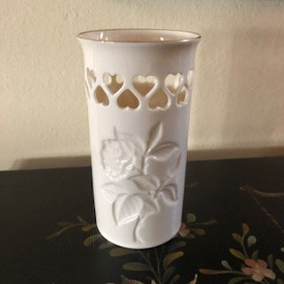 Lenox Vase With Rose Design And Cut Out Hearts Reticulated Etsy