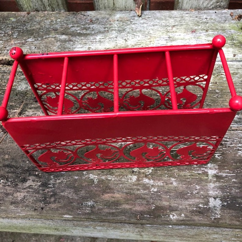 Red Rooster Metal Napkin Holder Vintage Rustic Chicken Country Kitchen Decor Americana