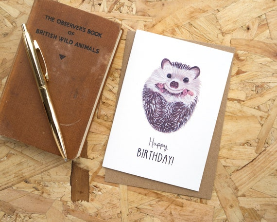 Happy Birthday Hedgehog Greetings Card // Happy Birthday Card // Blank Birthday Card // British Wildlife // Hedgehog Birthday Card