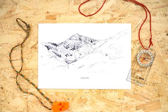 Snowdon Landscape Illustration // Snowdonia Print // British Landscapes Line Illustration