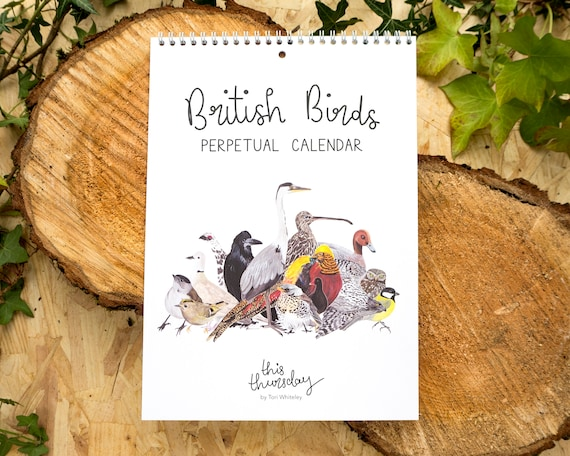 British Birds Perpetual Calendar // A4 Birthdays and Anniversaries Calendar // Illustrated Bird Calendar