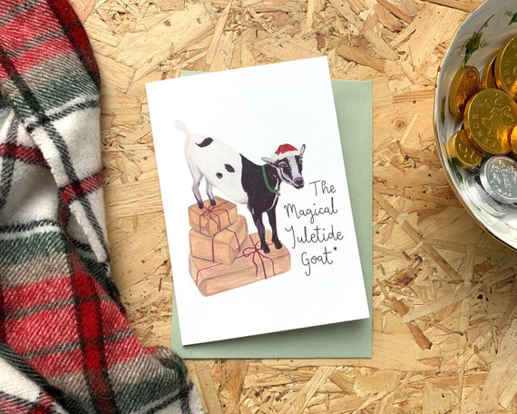 The Magical Yuletide Goat Christmas Card // Illustrated Christmas Card // Festive Animal Greetings Cards