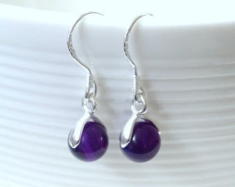 Purple agate and sterling silver earrings. Gemstone earrings. Silver earrings. Dangle earrings.